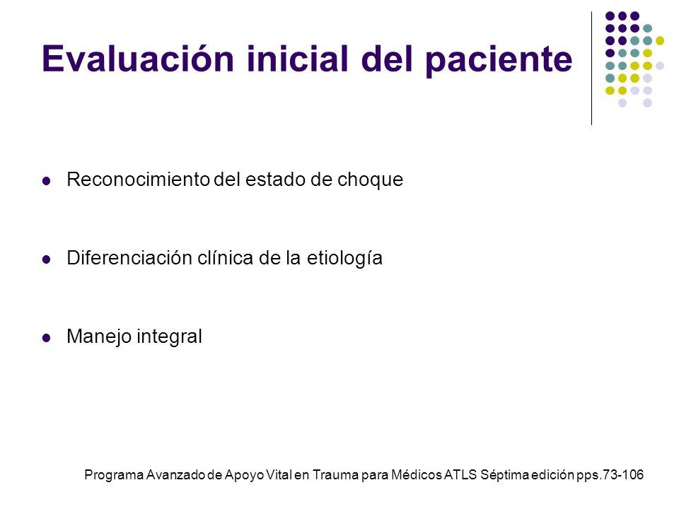 Evaluación inicial del paciente Reconocimiento del estado de choque Diferenciación clínica de la etiología Manejo integral Programa Avanzado de Apoyo