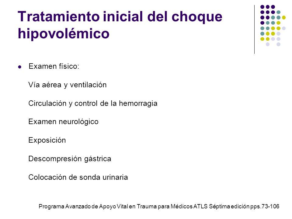 Tratamiento inicial del choque hipovolémico Examen físico: Vía aérea y ventilación Circulación y control de la hemorragia Examen neurológico Exposició
