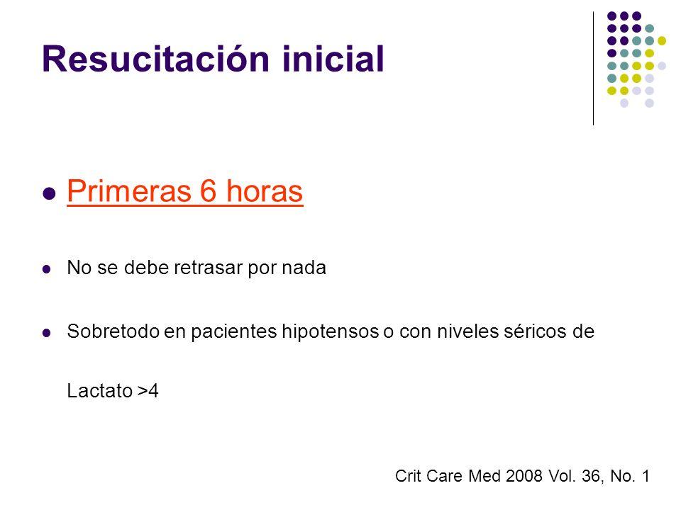 Resucitación inicial Primeras 6 horas No se debe retrasar por nada Sobretodo en pacientes hipotensos o con niveles séricos de Lactato >4 Crit Care Med