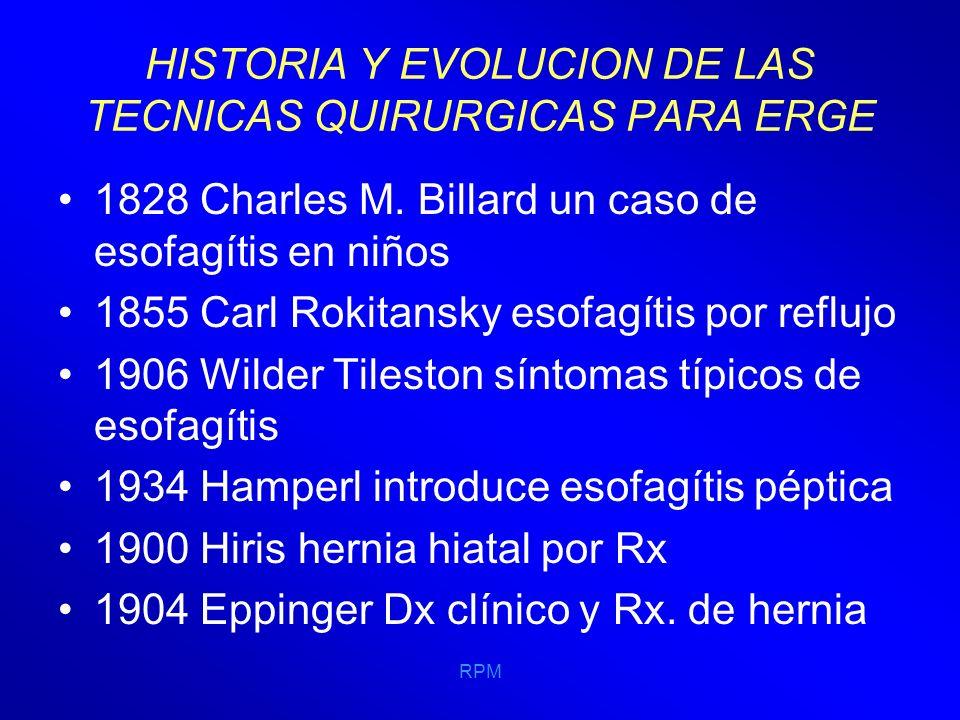 RPM HISTORIA Y EVOLUCION DE LAS TECNICAS QUIRURGICAS PARA ERGE 1964 PEDENIELLI INTRODUJO UN ELEMENTO LIGAMENTARIO, UNA CORBATA DE PIEL QUE FIJABA DEL ESTÓMAGO AL MÚSCULO RECTO ANTERIOR.