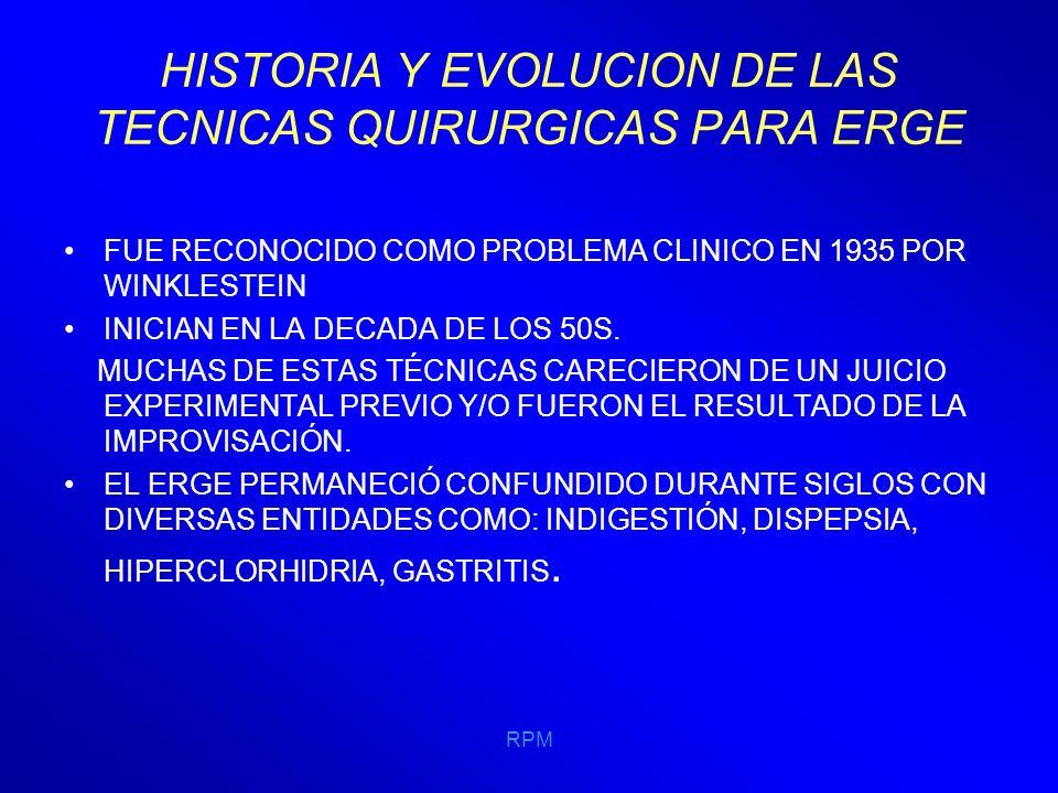 RPM HISTORIA Y EVOLUCION DE LAS TECNICAS QUIRURGICAS PARA ERGE LAS CIRUGÍAS ANTIRREFLUJO TIENEN DIFERENCIAS ENTRE ELLAS PERO TODAS PERSIGUEN EL MISMO FIN, ALARGAR EL ESÓFAGO ABDOMINAL, CONSTRUIR UN MECANISMO VALVULAR Y RESTAURAR LA PRESIÓN DEL ESFÍNTER ESOFÁGICO INFERIOR.