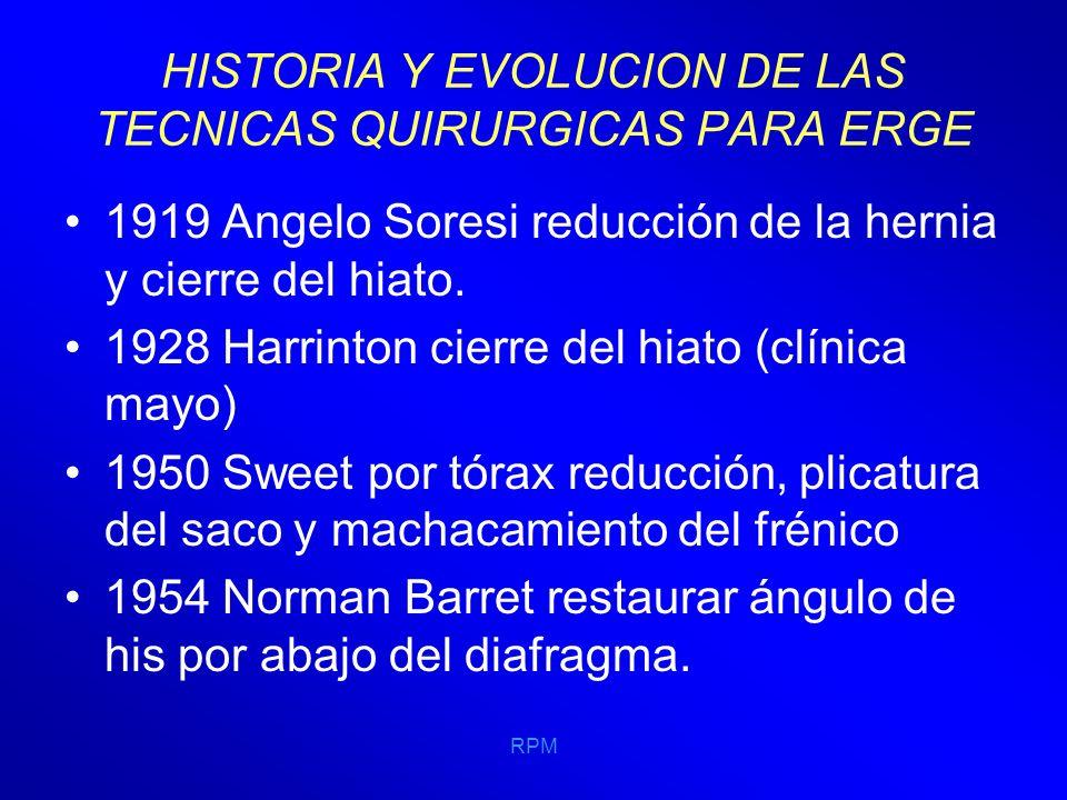 RPM HISTORIA Y EVOLUCION DE LAS TECNICAS QUIRURGICAS PARA ERGE 1956 NISSEN PUBLICA SU PROCEDIMIENTO DONDE LA UNIÓN GASTROESOFÁGICA SE ENTIERRA EN LA PARED ANTERIOR Y POSTERIOR DEL FUNDUS, MOVILIZANDO LA CURVATURA MENOR, MEDIANTE LA SECCIÓN DEL LIGAMENTO GASTRO- HEPÁTICO, CON PUNTOS LO MÁS CEFÁLICAMENTE Y TOMANDO CARA ANTERIOR POSTERIOR Y ESOFAGO, 4-6 CM DE LONGUITUD Y SIN CORTAR VASOS CORTOS.