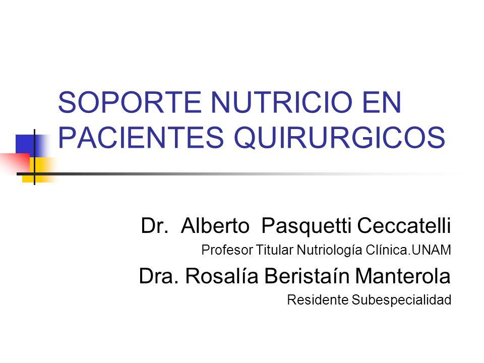 SOPORTE NUTRICIO EN PACIENTES QUIRURGICOS Dr. Alberto Pasquetti Ceccatelli Profesor Titular Nutriología Clínica.UNAM Dra. Rosalía Beristaín Manterola