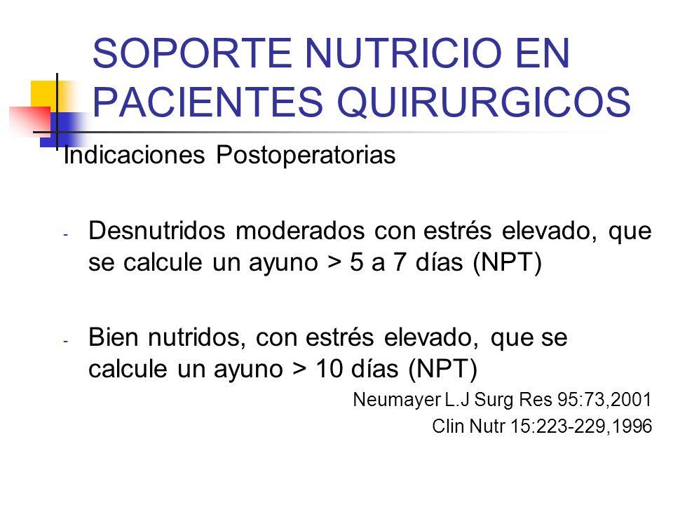 SOPORTE NUTRICIO EN PACIENTES QUIRURGICOS Indicaciones Postoperatorias - Desnutridos moderados con estrés elevado, que se calcule un ayuno > 5 a 7 día