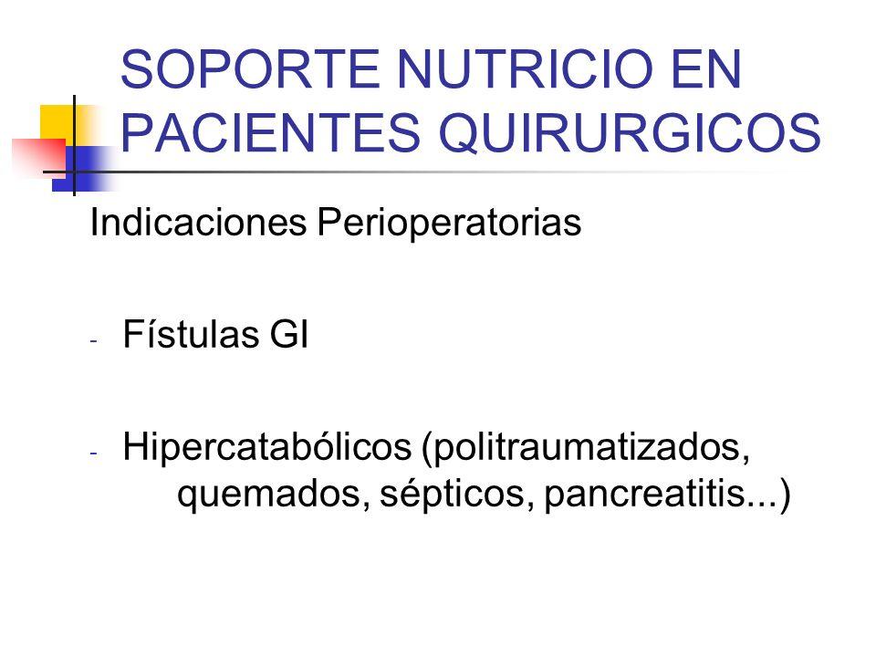 SOPORTE NUTRICIO EN PACIENTES QUIRURGICOS Indicaciones Perioperatorias - Fístulas GI - Hipercatabólicos (politraumatizados, quemados, sépticos, pancre