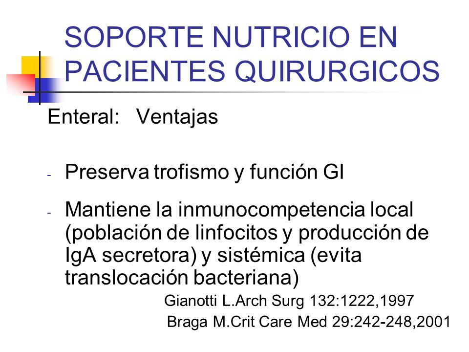 SOPORTE NUTRICIO EN PACIENTES QUIRURGICOS Enteral: Ventajas - Preserva trofismo y función GI - Mantiene la inmunocompetencia local (población de linfo
