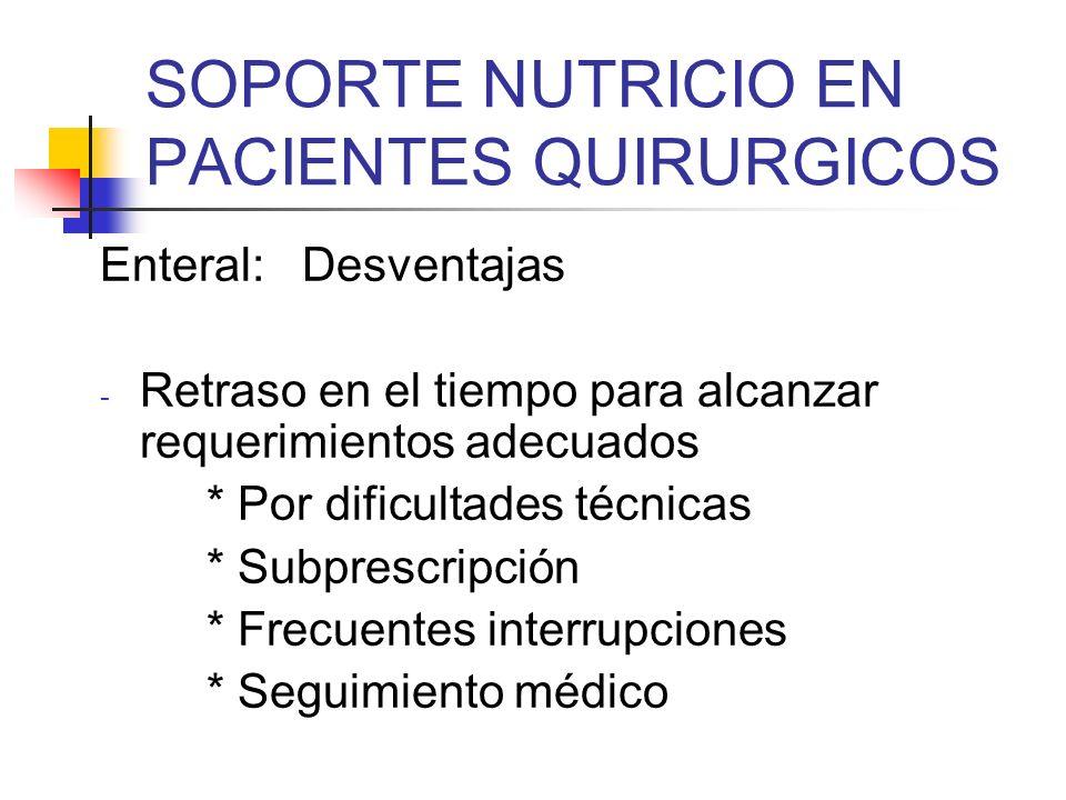 SOPORTE NUTRICIO EN PACIENTES QUIRURGICOS Enteral: Desventajas - Retraso en el tiempo para alcanzar requerimientos adecuados * Por dificultades técnic