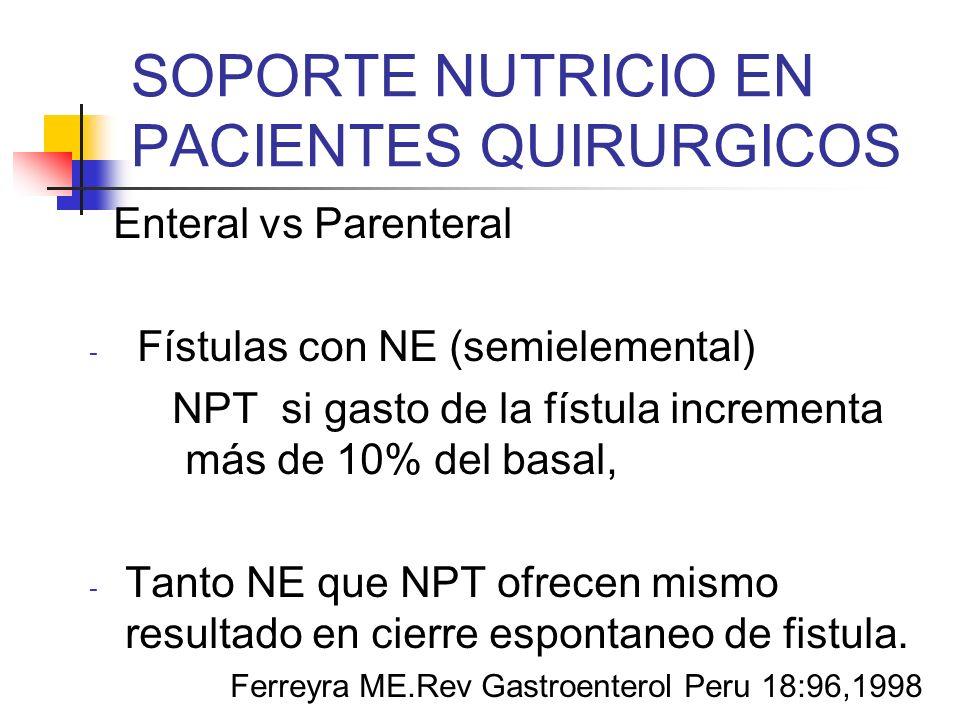 SOPORTE NUTRICIO EN PACIENTES QUIRURGICOS Enteral vs Parenteral - Fístulas con NE (semielemental) NPT si gasto de la fístula incrementa más de 10% del