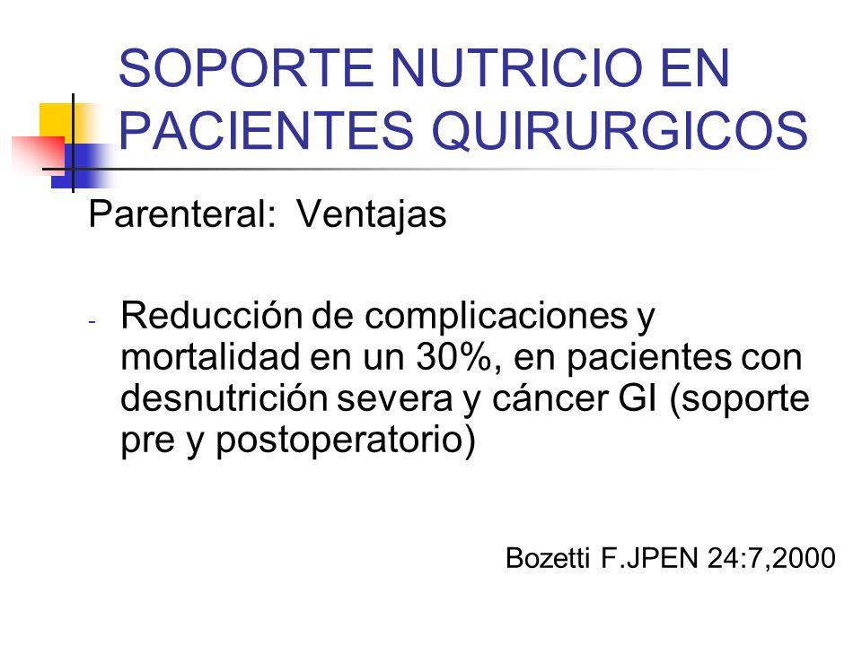 SOPORTE NUTRICIO EN PACIENTES QUIRURGICOS Parenteral: Ventajas - Reducción de complicaciones y mortalidad en un 30%, en pacientes con desnutrición sev