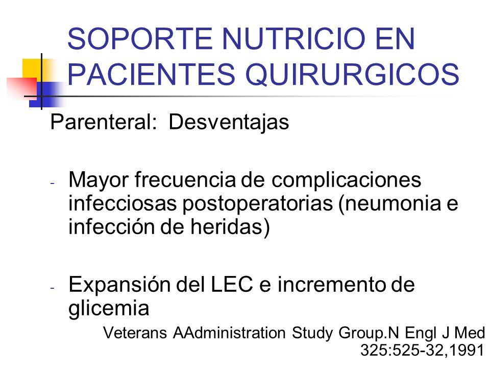 SOPORTE NUTRICIO EN PACIENTES QUIRURGICOS Parenteral: Desventajas - Mayor frecuencia de complicaciones infecciosas postoperatorias (neumonia e infecci