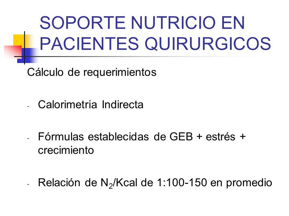 SOPORTE NUTRICIO EN PACIENTES QUIRURGICOS Cálculo de requerimientos - Calorimetria Indirecta - Fórmulas establecidas de GEB + estrés + crecimiento - R