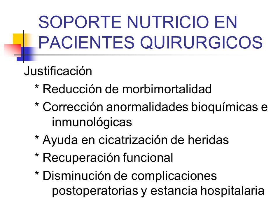 SOPORTE NUTRICIO EN PACIENTES QUIRURGICOS Arginina - Modula el balance nitrogenado y la síntesis proteíca (potente estimulador de la secreción de hormona de crecimiento) - Aumenta la funcion inmune mediada por los linfocitos T Shaw P.Nutrition 16:311,2000 ESICM Working Group.Intensive Care Med 28:1512- 1520, 2002
