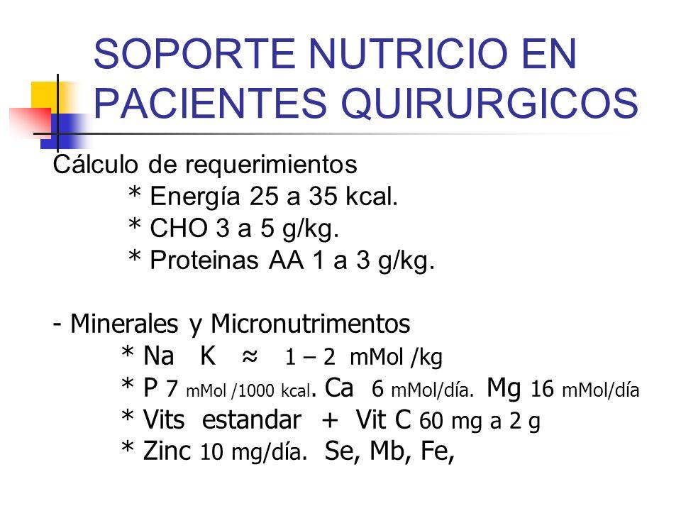 SOPORTE NUTRICIO EN PACIENTES QUIRURGICOS Cálculo de requerimientos * Energía 25 a 35 kcal. * CHO 3 a 5 g/kg. * Proteinas AA 1 a 3 g/kg. - Minerales y