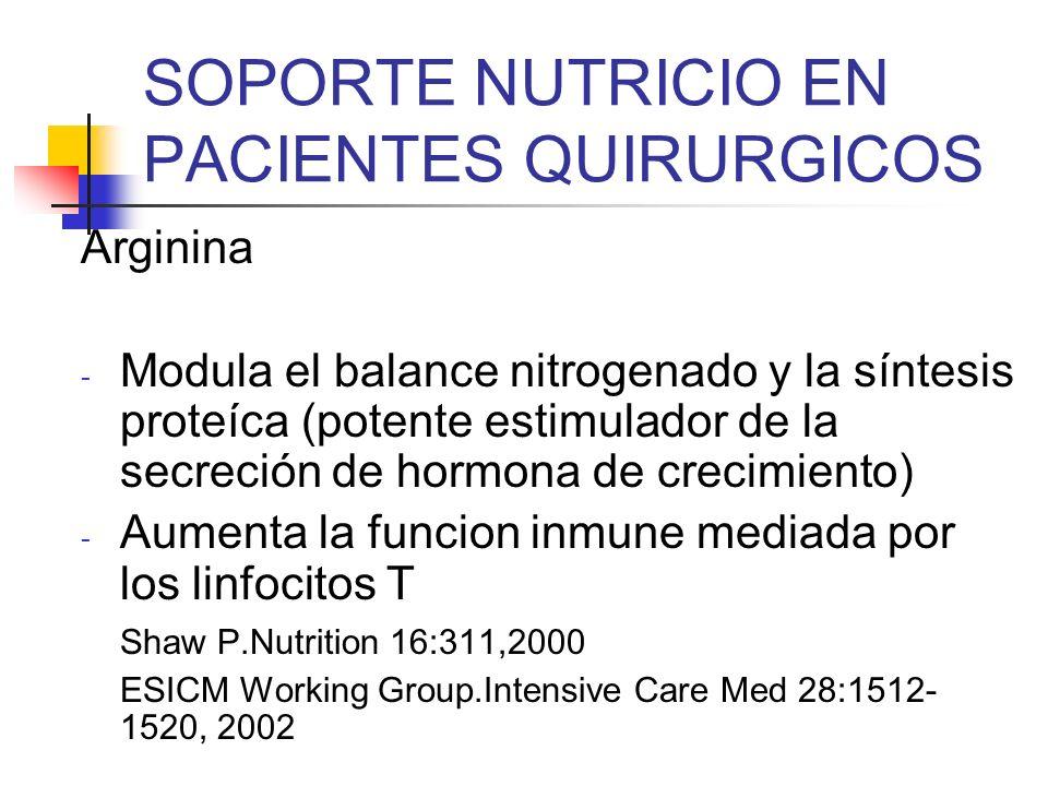 SOPORTE NUTRICIO EN PACIENTES QUIRURGICOS Arginina - Modula el balance nitrogenado y la síntesis proteíca (potente estimulador de la secreción de horm