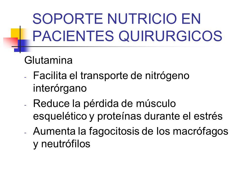SOPORTE NUTRICIO EN PACIENTES QUIRURGICOS Glutamina - Facilita el transporte de nitrógeno interórgano - Reduce la pérdida de músculo esquelético y pro