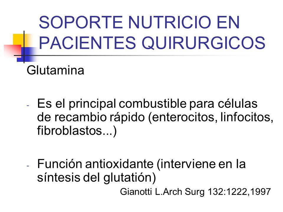 SOPORTE NUTRICIO EN PACIENTES QUIRURGICOS Glutamina - Es el principal combustible para células de recambio rápido (enterocitos, linfocitos, fibroblast