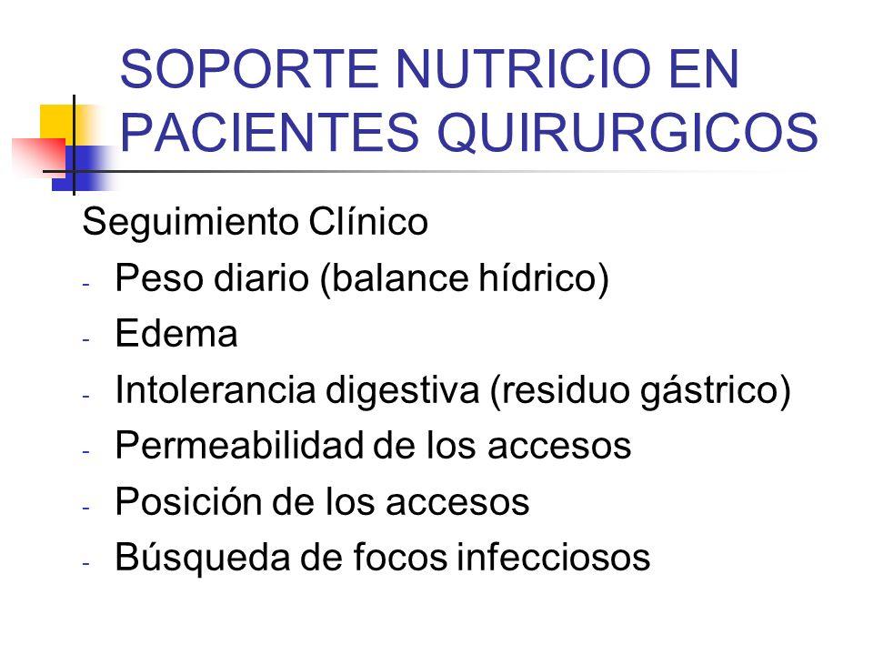 SOPORTE NUTRICIO EN PACIENTES QUIRURGICOS Seguimiento Clínico - Peso diario (balance hídrico) - Edema - Intolerancia digestiva (residuo gástrico) - Pe