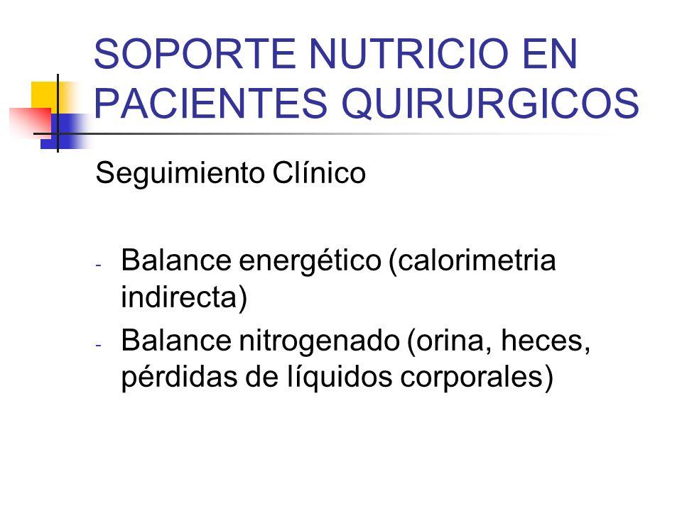 SOPORTE NUTRICIO EN PACIENTES QUIRURGICOS Seguimiento Clínico - Balance energético (calorimetria indirecta) - Balance nitrogenado (orina, heces, pérdi