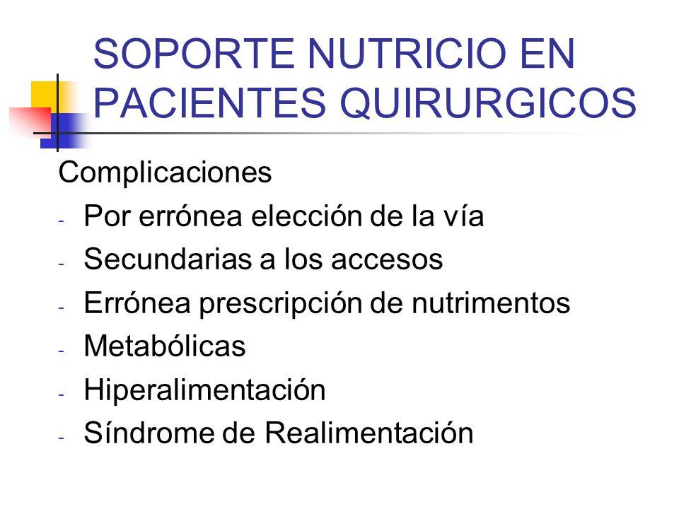 SOPORTE NUTRICIO EN PACIENTES QUIRURGICOS Complicaciones - Por errónea elección de la vía - Secundarias a los accesos - Errónea prescripción de nutrim