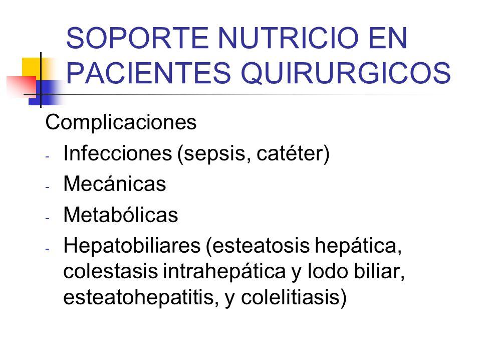 SOPORTE NUTRICIO EN PACIENTES QUIRURGICOS Complicaciones - Infecciones (sepsis, catéter) - Mecánicas - Metabólicas - Hepatobiliares (esteatosis hepáti