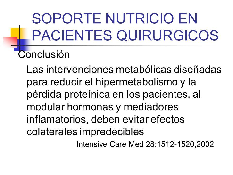 SOPORTE NUTRICIO EN PACIENTES QUIRURGICOS Conclusión Las intervenciones metabólicas diseñadas para reducir el hipermetabolismo y la pérdida proteínica