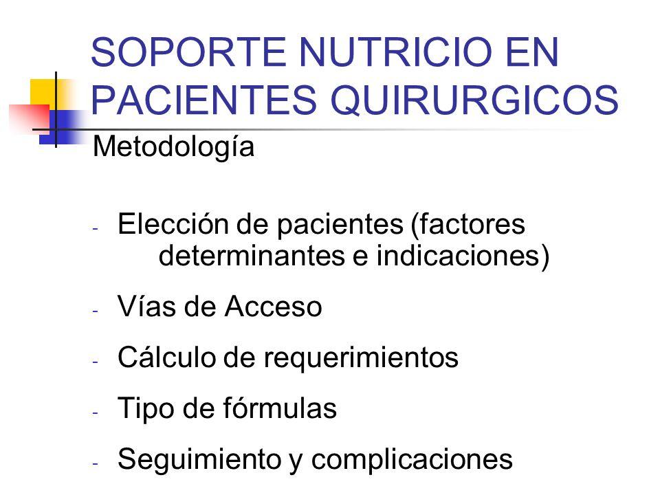 SOPORTE NUTRICIO EN PACIENTES QUIRURGICOS Metodología - Elección de pacientes (factores determinantes e indicaciones) - Vías de Acceso - Cálculo de re