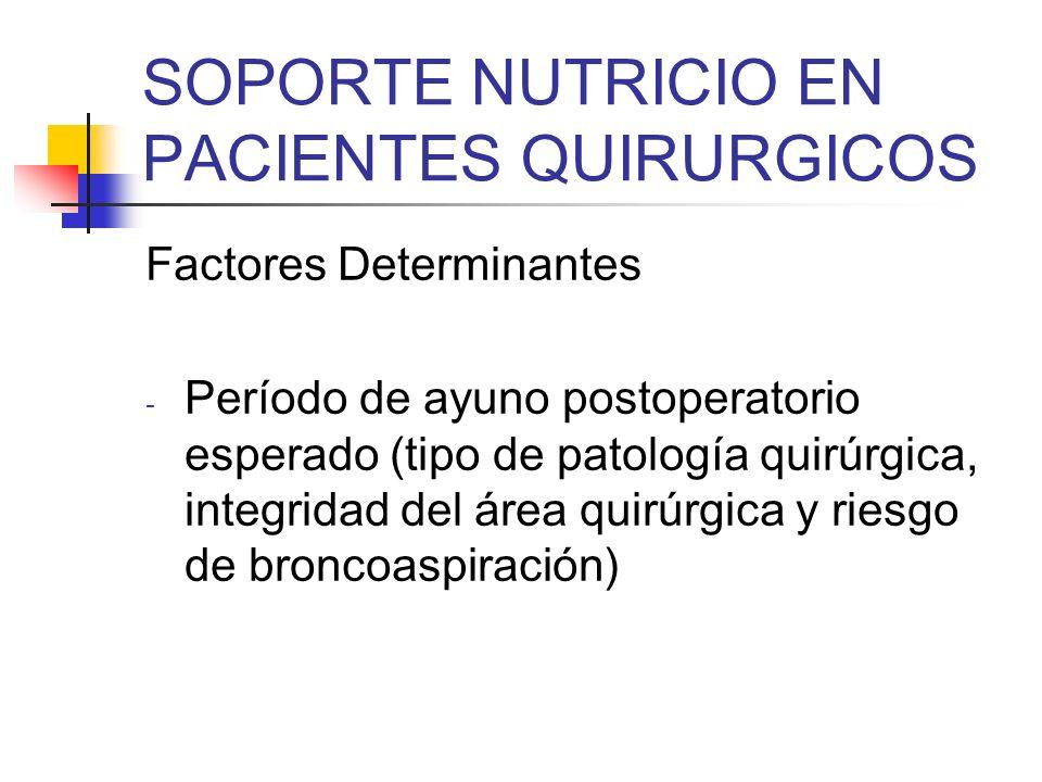 SOPORTE NUTRICIO EN PACIENTES QUIRURGICOS Indicaciones Preoperatorias (3-7-10 días) - Desnutridos graves, pérdida peso > 10%, albúmina < 2.5 g/dl (NPT) - Imposibilidad de usar la vía enteral (NPT) ASPEN.