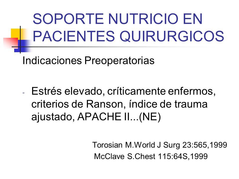 SOPORTE NUTRICIO EN PACIENTES QUIRURGICOS Indicaciones Postoperatorias - Desnutridos moderados con estrés elevado, que se calcule un ayuno > 5 a 7 días (NPT) - Bien nutridos, con estrés elevado, que se calcule un ayuno > 10 días (NPT) Neumayer L.J Surg Res 95:73,2001 Clin Nutr 15:223-229,1996