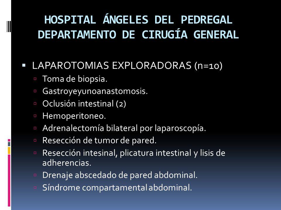 HOSPITAL ÁNGELES DEL PEDREGAL DEPARTAMENTO DE CIRUGÍA GENERAL LAPAROTOMIAS EXPLORADORAS (n=10) Toma de biopsia.