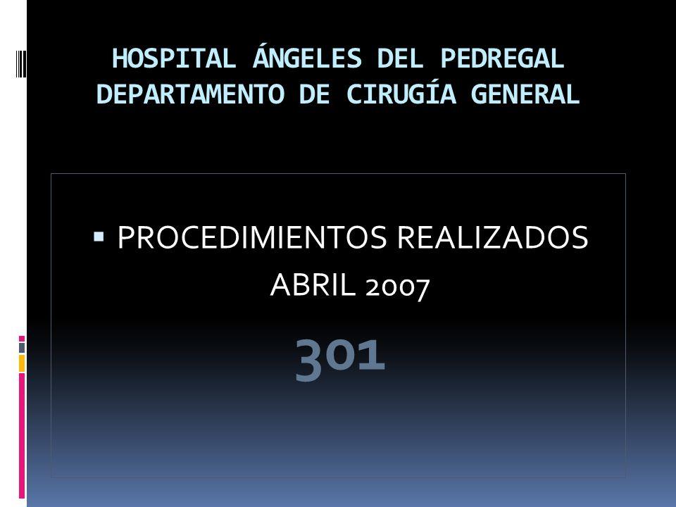 HOSPITAL ÁNGELES DEL PEDREGAL DEPARTAMENTO DE CIRUGÍA GENERAL PROCEDIMIENTOS REALIZADOS ABRIL 2007 301