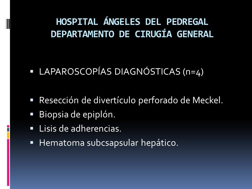 HOSPITAL ÁNGELES DEL PEDREGAL DEPARTAMENTO DE CIRUGÍA GENERAL LAPAROSCOPÍAS DIAGNÓSTICAS (n=4) Resección de divertículo perforado de Meckel.