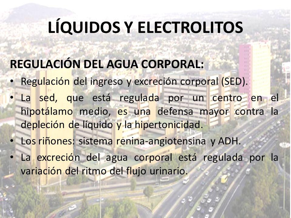 LÍQUIDOS Y ELECTROLITOS REGULACIÓN DEL AGUA CORPORAL: Regulación del ingreso y excreción corporal (SED). La sed, que está regulada por un centro en el