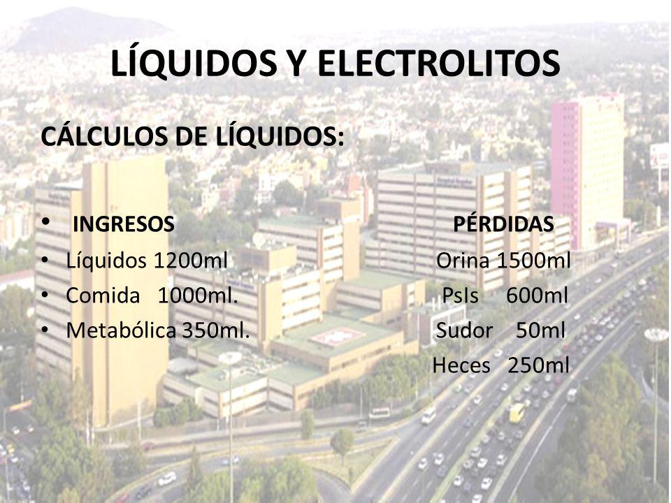 LÍQUIDOS Y ELECTROLITOS CÁLCULOS DE LÍQUIDOS: INGRESOS PÉRDIDAS Líquidos 1200ml Orina 1500ml Comida 1000ml. PsIs 600ml Metabólica 350ml. Sudor 50ml He