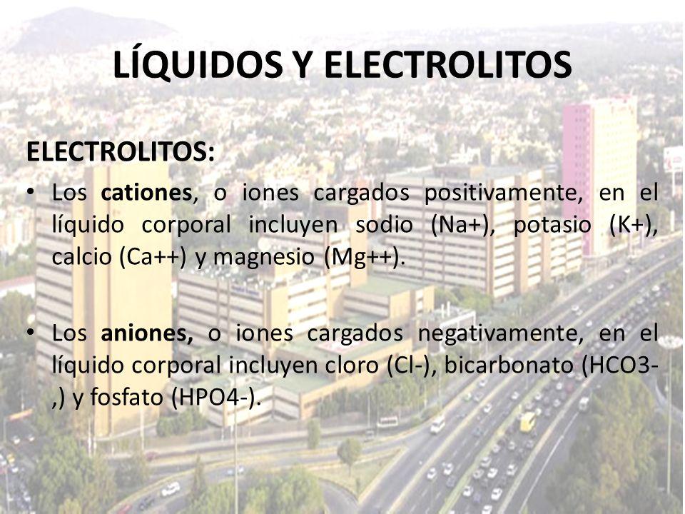 LÍQUIDOS Y ELECTROLITOS ELECTROLITOS: Los cationes, o iones cargados positivamente, en el líquido corporal incluyen sodio (Na+), potasio (K+), calcio