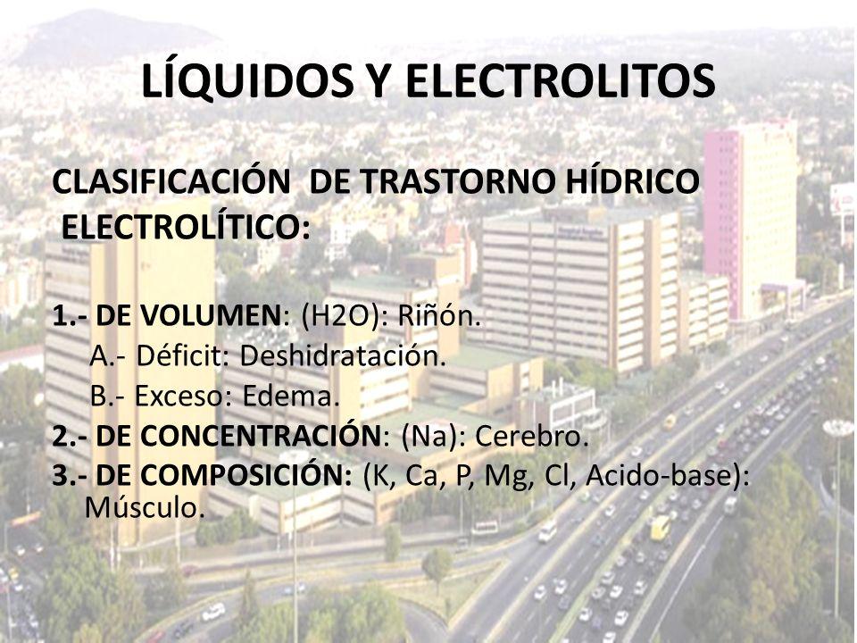 LÍQUIDOS Y ELECTROLITOS CLASIFICACIÓN DE TRASTORNO HÍDRICO ELECTROLÍTICO: 1.- DE VOLUMEN: (H2O): Riñón. A.- Déficit: Deshidratación. B.- Exceso: Edema