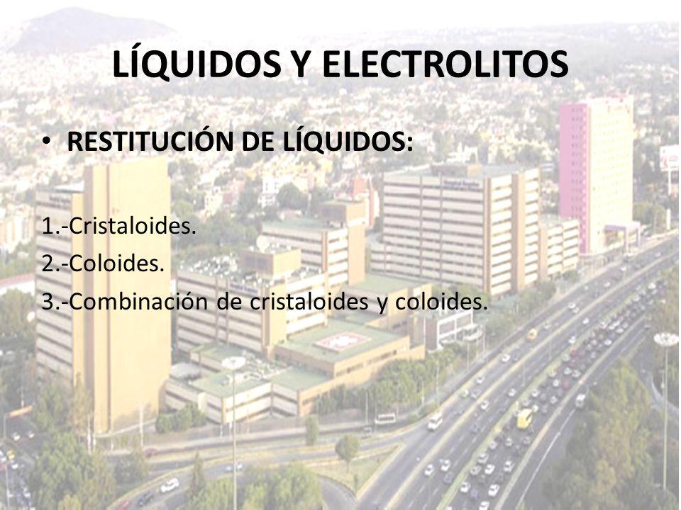 LÍQUIDOS Y ELECTROLITOS RESTITUCIÓN DE LÍQUIDOS: 1.-Cristaloides. 2.-Coloides. 3.-Combinación de cristaloides y coloides.