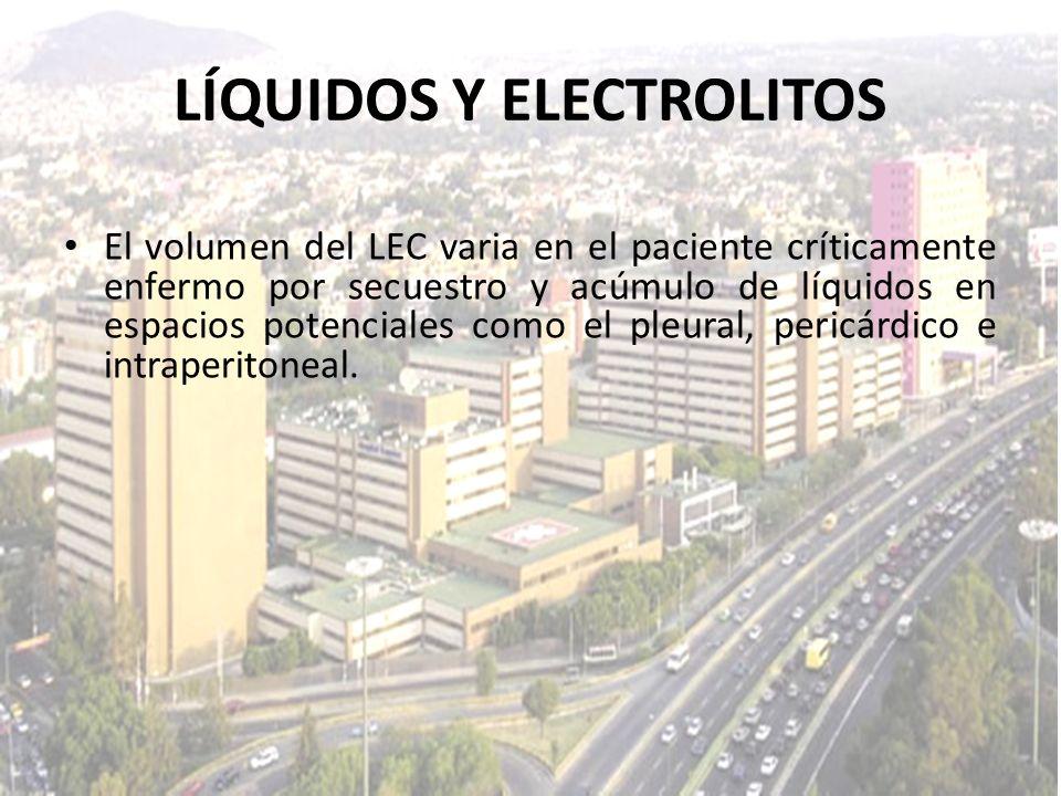 LÍQUIDOS Y ELECTROLITOS El volumen del LEC varia en el paciente críticamente enfermo por secuestro y acúmulo de líquidos en espacios potenciales como