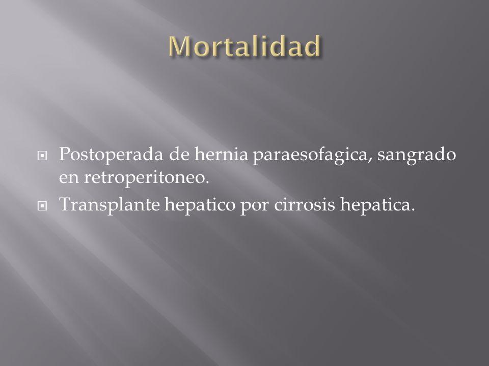 Postoperada de hernia paraesofagica, sangrado en retroperitoneo. Transplante hepatico por cirrosis hepatica.