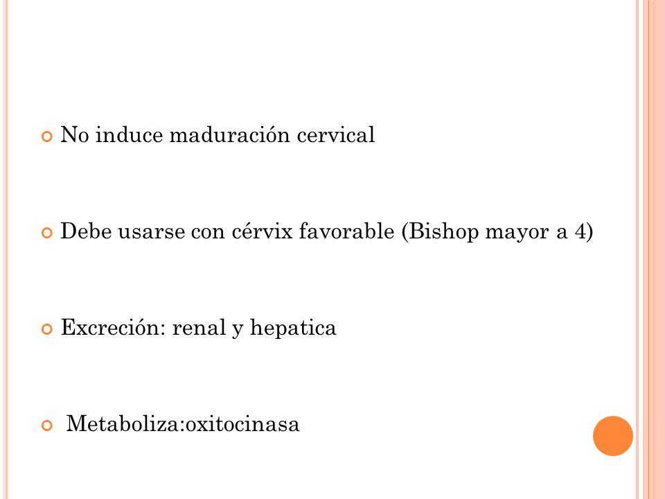 No induce maduración cervical Debe usarse con cérvix favorable (Bishop mayor a 4) Excreción: renal y hepatica Metaboliza:oxitocinasa