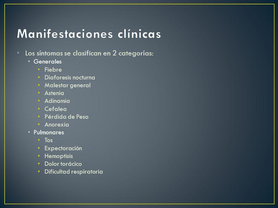 Los síntomas se clasifican en 2 categorías: Generales Fiebre Diaforesis nocturna Malestar general Astenia Adinamia Cefalea Pérdida de Peso Anorexia Pu