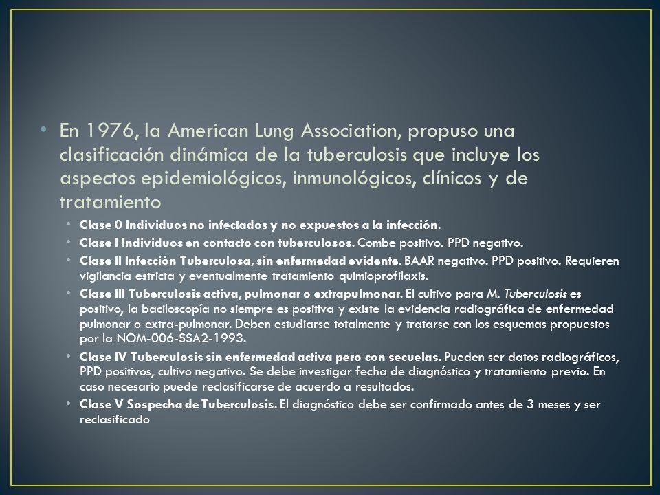 En 1976, la American Lung Association, propuso una clasificación dinámica de la tuberculosis que incluye los aspectos epidemiológicos, inmunológicos,