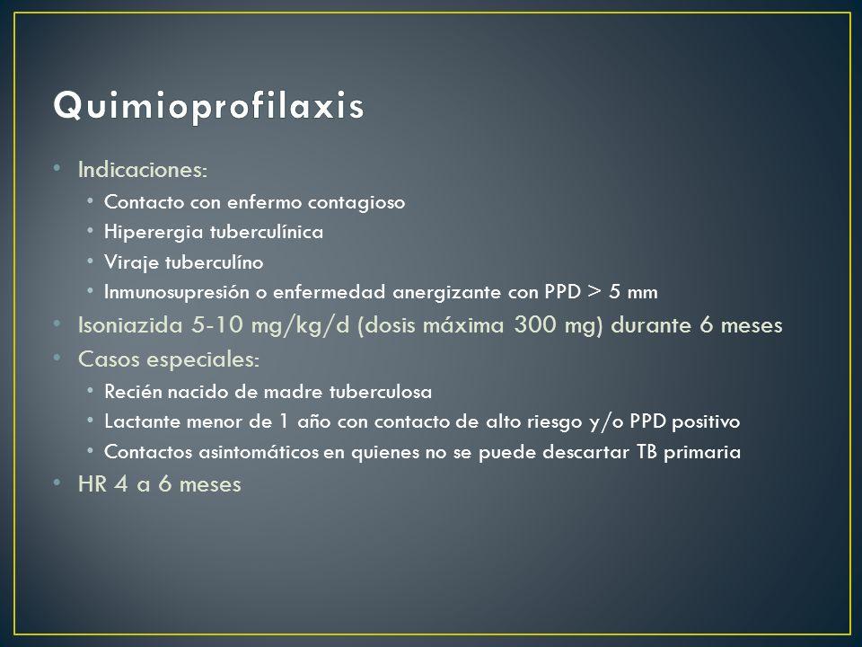 Indicaciones: Contacto con enfermo contagioso Hiperergia tuberculínica Viraje tuberculíno Inmunosupresión o enfermedad anergizante con PPD > 5 mm Ison