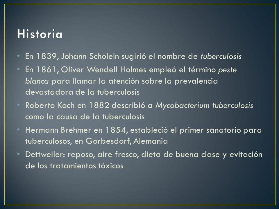 En 1839, Johann Schölein sugirió el nombre de tuberculosis En 1861, Oliver Wendell Holmes empleó el término peste blanca para llamar la atención sobre