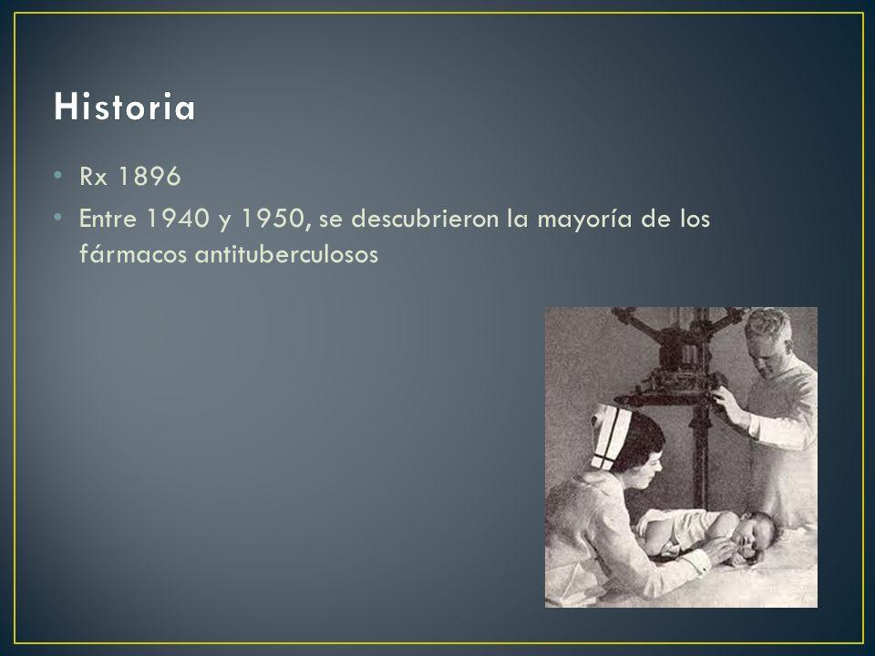 Rx 1896 Entre 1940 y 1950, se descubrieron la mayoría de los fármacos antituberculosos