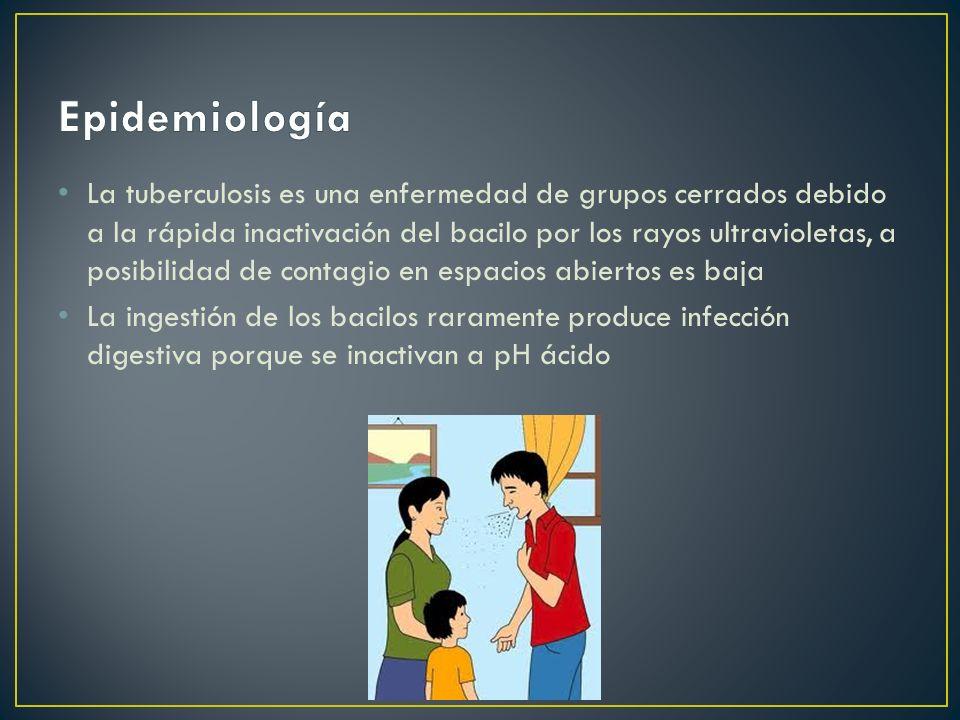 La tuberculosis es una enfermedad de grupos cerrados debido a la rápida inactivación del bacilo por los rayos ultravioletas, a posibilidad de contagio