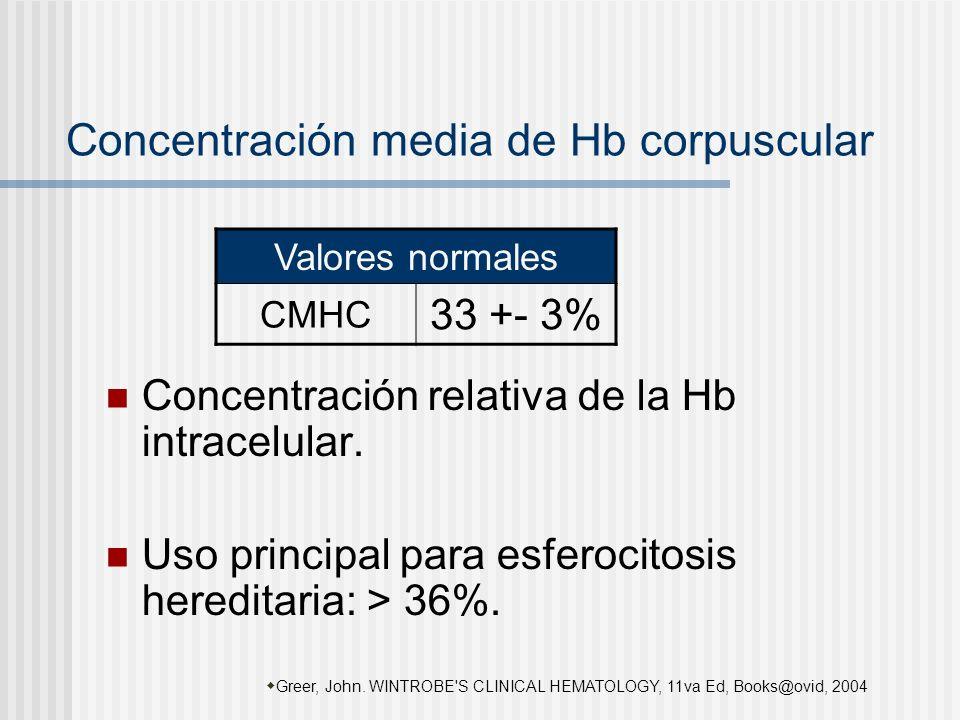 Concentración media de Hb corpuscular Concentración relativa de la Hb intracelular. Uso principal para esferocitosis hereditaria: > 36%. Greer, John.