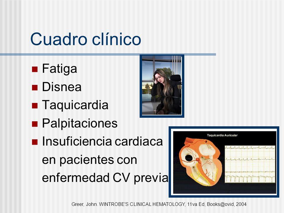 Cuadro clínico Fatiga Disnea Taquicardia Palpitaciones Insuficiencia cardiaca en pacientes con enfermedad CV previa Greer, John. WINTROBE'S CLINICAL H