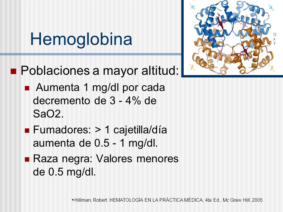 Hemoglobina Poblaciones a mayor altitud: Aumenta 1 mg/dl por cada decremento de 3 - 4% de SaO2. Fumadores: > 1 cajetilla/día aumenta de 0.5 - 1 mg/dl.