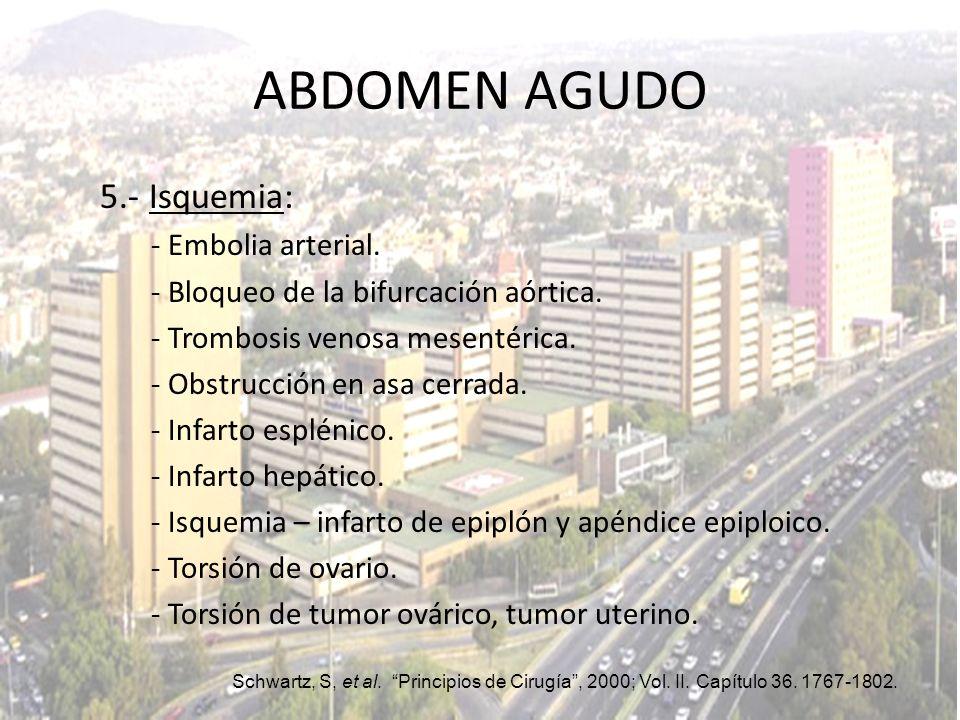 5.- Isquemia: - Embolia arterial. - Bloqueo de la bifurcación aórtica. - Trombosis venosa mesentérica. - Obstrucción en asa cerrada. - Infarto espléni