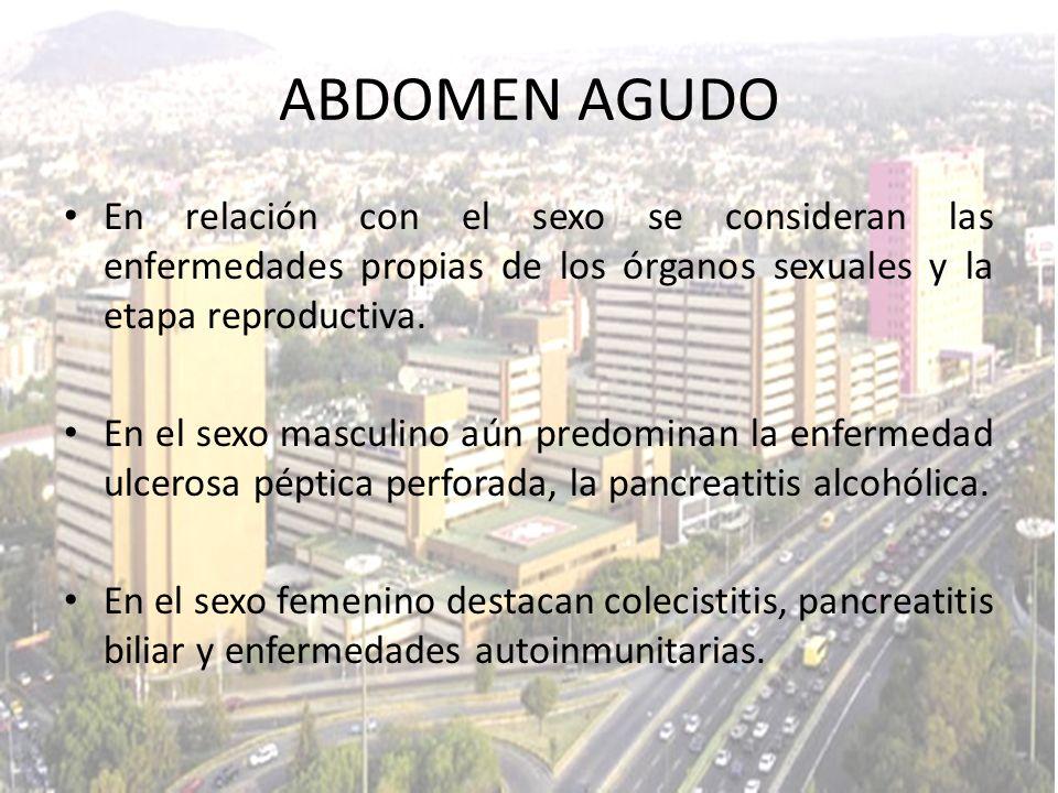 En relación con el sexo se consideran las enfermedades propias de los órganos sexuales y la etapa reproductiva. En el sexo masculino aún predominan la